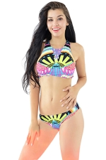Womens Sexy Ethnic Print Racerback Bikini Top & Swimwear Bottom Black