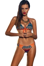 Womens Sexy Halter Geometric Print Bikini Top & Swimwear Bottom Orange