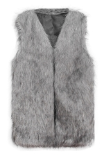 Womens Faux Fur V Neck Sleeveless Vest Coat Gray
