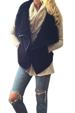 Womens Stylish Faux Fur Collar Monogram Vest Black