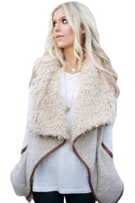 Womens Stylish Faux Fur Collar Monogram Vest Khaki