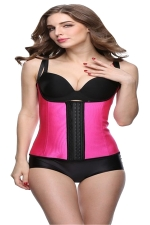 Womens Adjustable Straps Glossy Waist Training Corset Rose Red