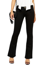 Womens Warm Thick Lined High Waist Flare Pants Denim Leggings Black