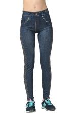 Womens Slimming High Elastic Bleached Denim Leggings Blue