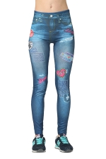 Womens Slimming Ripped Bleached Patch Printed Denim Leggings Blue