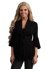 Womens Casual Plain 3/4 Length Ruffle Sleeve Trench Coat Black