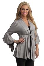 Womens Casual Plain 3/4 Length Ruffle Sleeve Trench Coat Gray
