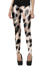 Womens Skinny Leopard Printed Pencil Leggings Brown
