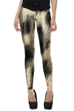 Womens Leopard Printed Skinny Pencil Leggings Chestnut