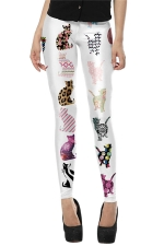 Womens Skinny Cat Printed Pencil Leggings Brown