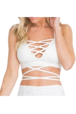 Womens Sexy Deep V Neck Cross Bandage Bra White