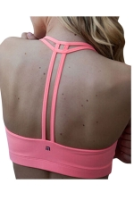 Womens Plain Double-string Sports Bra Pink