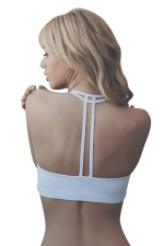 Womens Plain Double-string Sports Bra White
