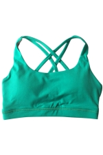 Womens Plain Double Criss Cross Straps Sports Bra Green