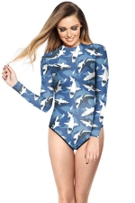 Womens Crewneck Long Sleeve Zipper Back Shark Printed Diving Suit Blue