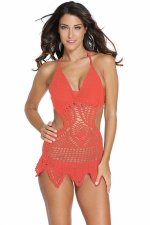 Womens Sexy Halter Crochet Hollow Out Beach Dress Tangerine