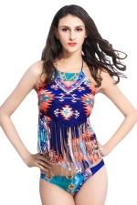 Womens Halter Exotic Printed Fringe Bikini Top & Swimwear Bottom Blue