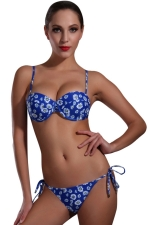 Womens Sexy Floral Printed Top & Double-string Bottom Bikini Set Blue