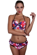 Womens Halter Floral Printed Top & Ruffle Bottom Bikini Set Red