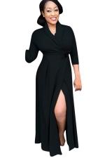 Womens Chic Plain V Neck Long Sleeve Long Trench Coat Black