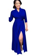Womens Chic Plain V Neck Long Sleeve Long Trench Coat Sapphire Blue