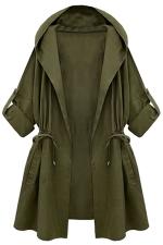 Womens Plain Hooded Drawstring Waist Trench Coat Green