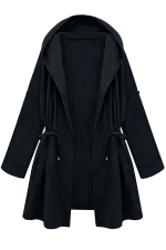Womens Plain Hooded Drawstring Waist Trench Coat Navy Blue