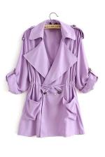Womens Plain Turndown Collar Drawstring Waist Trench Coat Purple