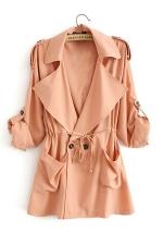 Womens Casual Plain Turndown Collar Drawstring Waist Trench Coat Pink