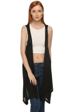 Womens Chic Irregular Hem Plain Vest Black