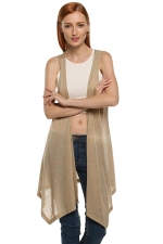 Womens Chic Irregular Hem Plain Vest Khaki