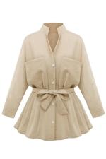 Womens Stand Collar Long Sleeve Pockets Plain Trench Coat Khaki