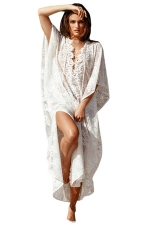 Womens Casual Lace Up Front Lace Beach Dress White