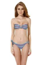 Womens Bandeau Striped Top&Double-string Bottom Bikini Set Blue