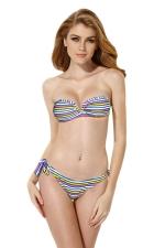 Womens Bandeau Striped Top&Double-string Bottom Bikini Set Purple