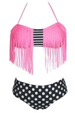 Womens Sexy Halter Fringe Top & Polka Dot Bottom Bikini Set Pink