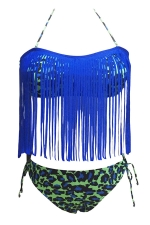 Womens Sexy Halter Fringe Top & Dapple Bottom Bikini Set Blue