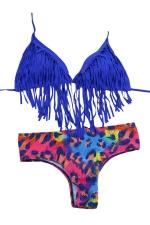 Womens Sexy Fringe Halter Top & Dapple Bottom Bikini Set Rose Red