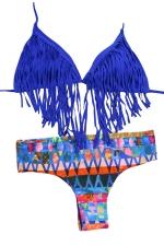 Womens Halter Fringe Top&Exotic Print Bottom Bikini Set Sapphire Blue