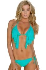 Womens Sexy Halter Fringe Top & Double-string Bottom Bikini Set Blue