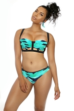 Womens Bandeau Sea Printed Bikini Top & Sexy Swimwear Bottom Green