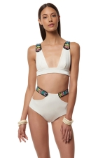 Womens Sexy Bikini Top & High Waist Cut Out Swimsuit Bottom White