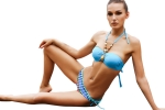 Womens Halter Bandeau Top&Double-string Printed Bottom Bikini Set Blue