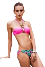 Womens Bandeau Top&Double-string Printed Bottom Bikini Set Rose Red