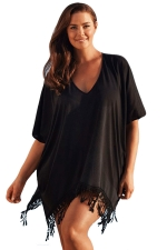 Womens Sexy Plain V Neck Fringe Beach Dress Black