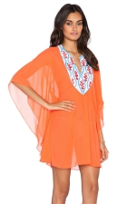 Womens Sexy Embroidery Neckline Patchwork Beach Dress Orange