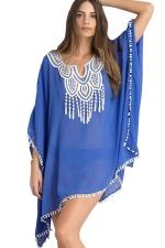 Womens Sexy Sheer Batwing Sleeve Plain Beach Dress Blue
