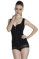 Womens Sexy Mesh Splicing Buckle Front Corset with Straps Black