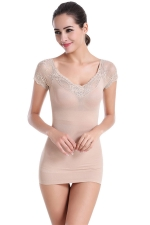 Womens Sexy Lace Patchwork Body Shaper Corset Khaki