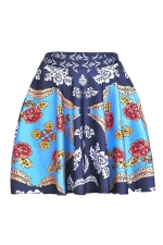 Womens Sexy Exotic Flower Printed Pleated Mini Skirt Navy Blue